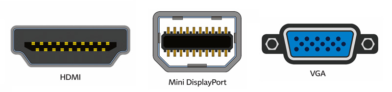 Sortie HDMI, Mini DisplayPort et VGA sur PC portable