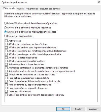 Performances Windows 10