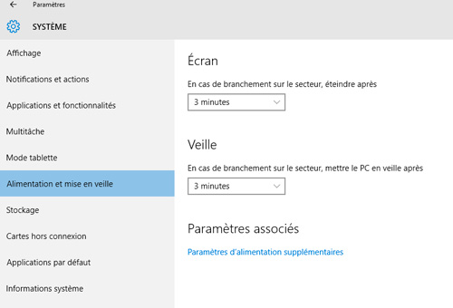 Veille Windows 10